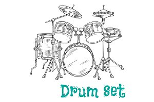 Sketched five piece drum set