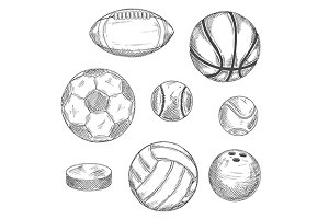 Engraving sketches of sport balls