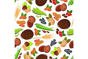 Beans, nuts, seeds and wheat pattern