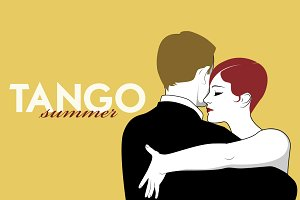 Tango Dancers: Yellow background