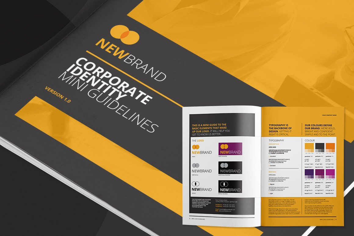 Mini logo guidelines brochure templates creative market for Mini brochure template
