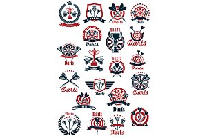 Darts sport icons and symbols set