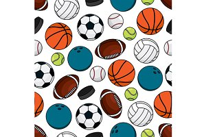 Team games seamless pattern