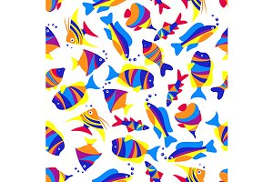 Tropical sea life seamless pattern