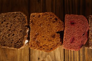 Homemade mixed breads presented for sale