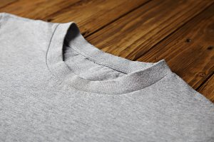 Blank grey t-shirt mockup set