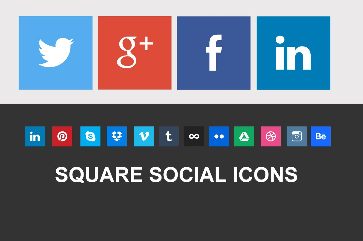 nice square social icons icons creative market