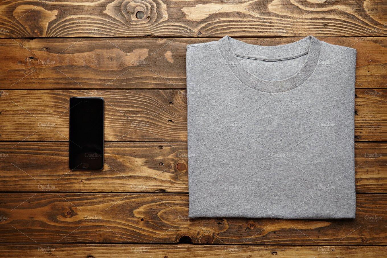 blank grey tshirt mockup set technology photos