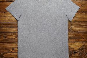 Blank grey t-shirt mockup set