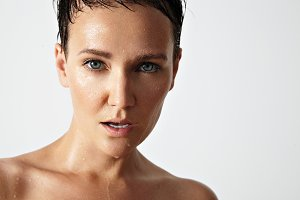wet skin portraits of a woman