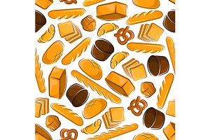 Fresh baked bread seamless pattern