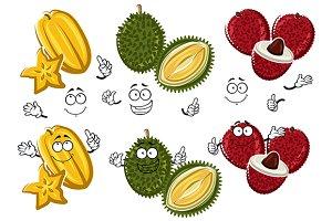Lychee, durian, carambola fruits