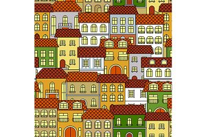 Old buildings seamless pattern