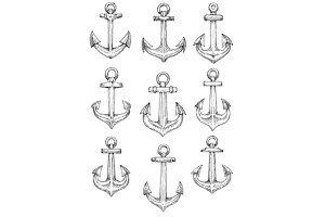 Retro nautical heraldic anchors