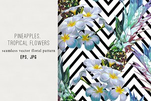 Pineapples, tropical flowers pattern