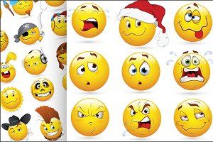 50 Smileys and Emoticons Vectors