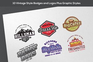 10 Vintage Badges Plus Graphic Style
