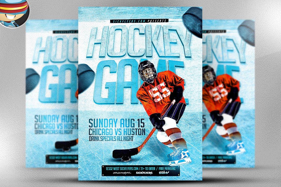 Ice Hockey Flyer Template Flyer Templates Creative Market – Hockey Templates Free