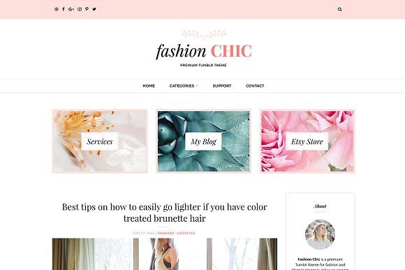 Fashion Chic Tumblr Theme Tumblr Themes Creative Market