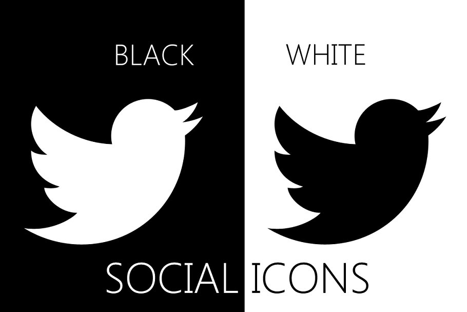 30 Social Icons -black and white