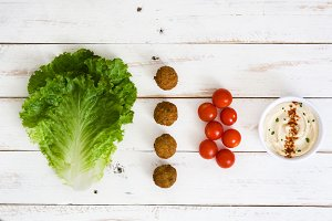 Falafel, vegetables and hummus