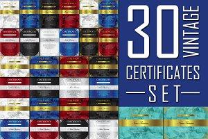 30 Vintage Certificates Set