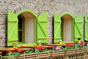 Wooden green house windows