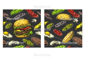 Seamless pattern burger  engraving