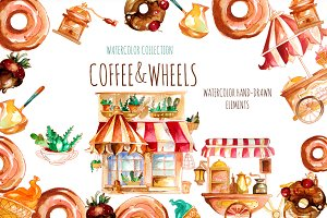 Watercolor  coffee carts set