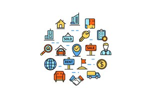 Real Estate Round Icon Set