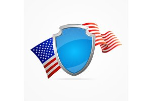 USA Flag and Shield. Vector