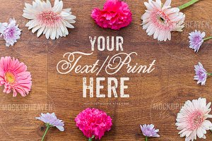Rustic Floral Invitation Card Mockup