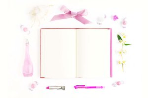 Mock up with pink notebook