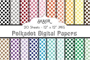 Rainbow Polka Dot Digital Papers