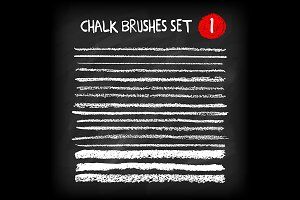 Set of chalk brush strokes