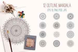 12 outline mandala