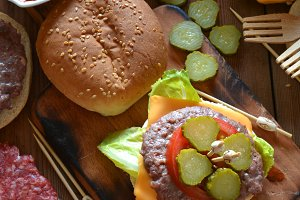 Homemade burgers with cheese