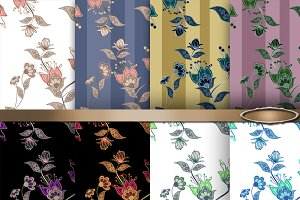 Set of 8 seamless floral patterns.