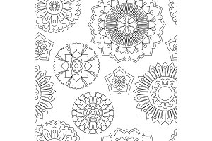 Seamless doodle flowers pattern