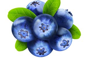 Isolated fresh blueberry