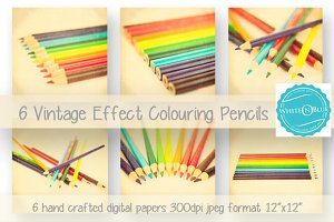 6 Vintage Colouring Pencil Papers