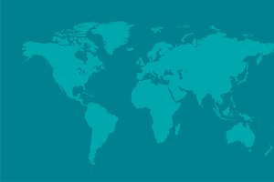 World map flat vector light blue