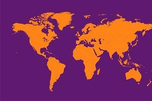 World map orange with borders
