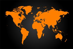 World map orange, vector