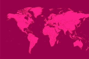 World map pink with borders