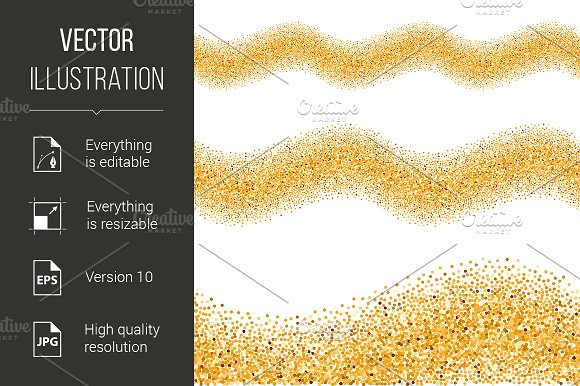Gold Glittering Wave in Graphics