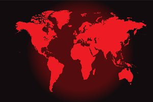 World map red, vector