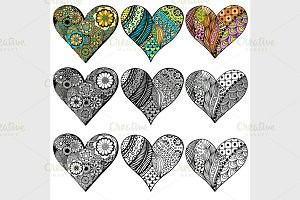Set Hand drawn hearts