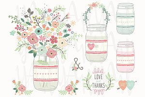 Vintage Flower Mason Jar Elements