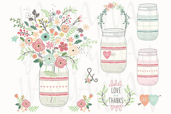 Vintage Flower Mason Jar Elements